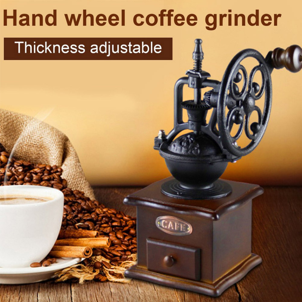 Retro Style Manual Coffee Grinder Wheel Design Coffee Bean ...
